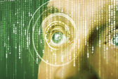 Modern cyber asker hedef matris göz ile — Stok fotoğraf