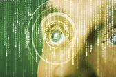 Soldado moderno cyber com olho de matriz de destino — Foto Stock