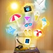 Tourist bag with colorful summer icons and symbols — Stock Photo #51498495