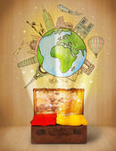 Luggage with travel around the world illustration concept — Stock Photo