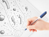 Hand drawing abstract sketches and doodles on paper — Stock Photo