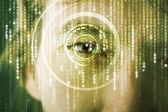 Moderne cyber soldaat met doel matrix oog — Stockfoto