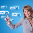 Woman hand pressing Social Network icon — Stock Photo #5150436