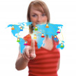 Woman hand pressing Social network icon 2 — Stock Photo #5280359