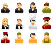 Hotel and restaurant staff icons — Stock Vector