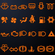Illuminated car dashboard icons - Imagens vectoriais em stock