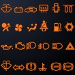Illuminated car dashboard icons - Stock Vector
