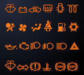 Illuminated car dashboard icons — Stockvektor