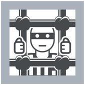 Prisoner behind bars - criminal in jail, simple icon — Stock Vector