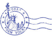 Shabby stamp with Statue of Liberty - sights of New York — Stock Vector