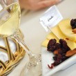 Cheese tray and wine — Stock Photo