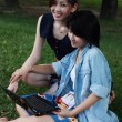 Two beautiful girl on a laptop computer outdoors. Lay on the gre — Stock Photo #28541719