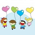 Happy children with love balloons — Stock Vector
