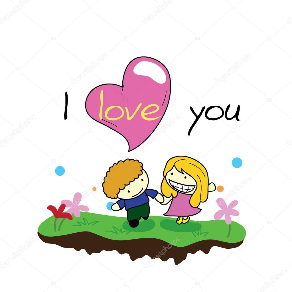 Couple with I love you and garden background — Stock Vector #17601167