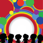 Silhouettes children background — Stock Vector