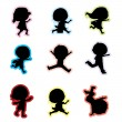 Children silhouettes — Stock Vector