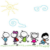 Happy kids doodle — Stock Vector