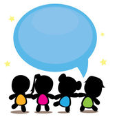 Silhouettes cartoon kids with speech bubble — Stock Vector