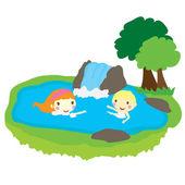 自然とプールで泳いでいる 2 人の子供 — ストックベクタ