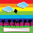 Children silhouettes with rainbow and clouds background — Stock Vector