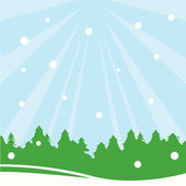 Snow and trees — Stock Vector