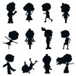 Stock Vector: Children silhouettes designs