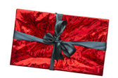 Red gift box on a white background — Stock Photo
