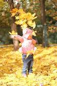 秋天的叶子的小女孩 — 图库照片