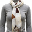 Stock Photo: Beige  scarf with fringe