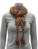 Brown scarf with fringe ties — Stock Photo