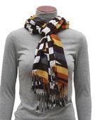 Varicolored scarf with fringe — Stock Photo