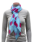 Blue scarf in pink peas — Stock Photo