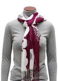 Pink and white fringe scarf — Stock Photo