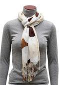 Beige  scarf with fringe — Stock Photo