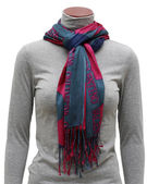 Pink and blue scarf with fringe — Stock Photo