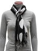 Black and white fringe scarf — Stock Photo