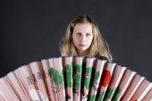 Beautiful woman with big chinese fan — Stock Photo