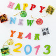 Foto Stock: Resin Happy New Year put word and Gift