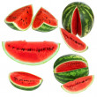 Set fresh watermelon and slices isolated on a white background - Stock Photo