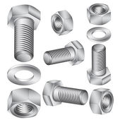 Stainless steel bolt and nut. Vector illustration. — Stock Photo