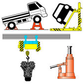 Set device for lifting a car repair. Vector illustration. — Stock Photo