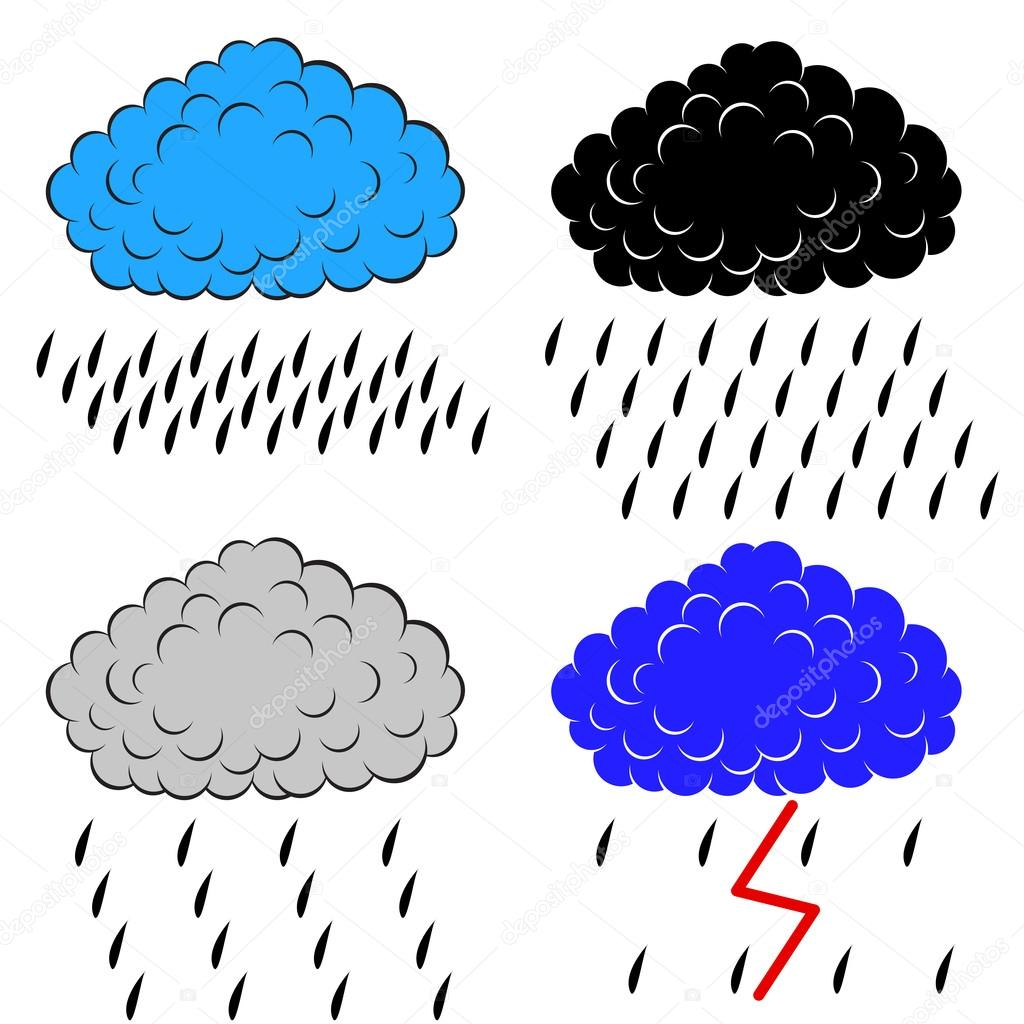 Clouds with precipitation, vector illustration  Stock Photo #12678105