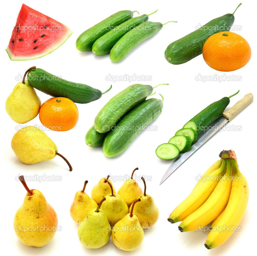 Set of fruits and vegetables isolated on white background  Stock Photo #12678138