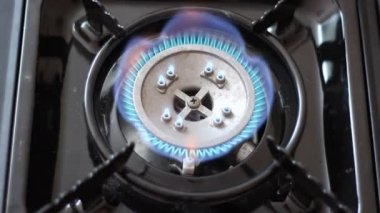 Automatic gas burner with a blue flame. — Stock Video
