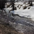 Spring snow melting on the river, in March — Stock Video #12861161