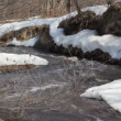 Stock Video: Spring snow melting on the river, in March