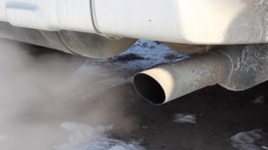 Exhaust gases from the muffler running car. — Stock Video