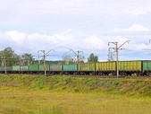 Cargo train from cars. — Stock Photo