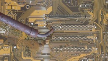 Man soldering iron soldering PC's motherboard — 图库视频影像
