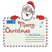Der weihnachtsmann hält einen mailing umschlag mit siegel — Stockfoto